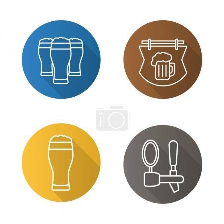 Beer pub flat icons set