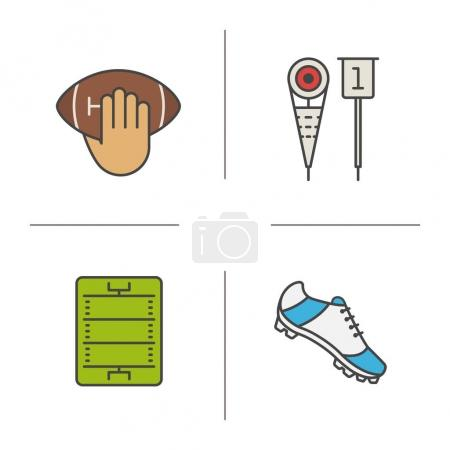 American football color icons set