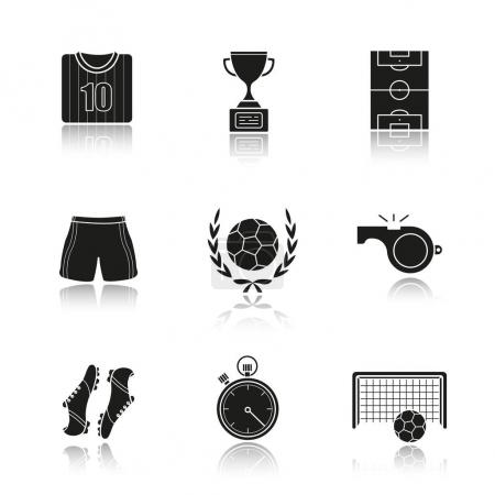 Soccer drop shadow black icons set