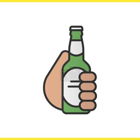 Hand holding beer bottle