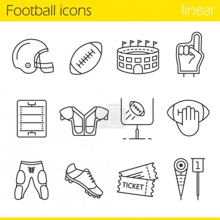 American football linear icons set