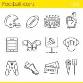 American football linear icons set Helmet shoulder pad ball shorts Hand holding ball goal signfoam finger game tickets arena Thin line contour symbols Isolated vector illustration