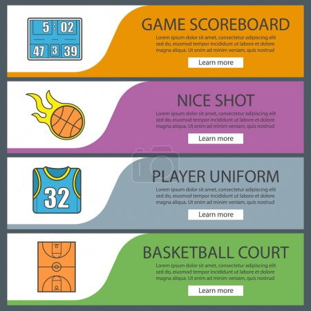 Basketball banner templates set