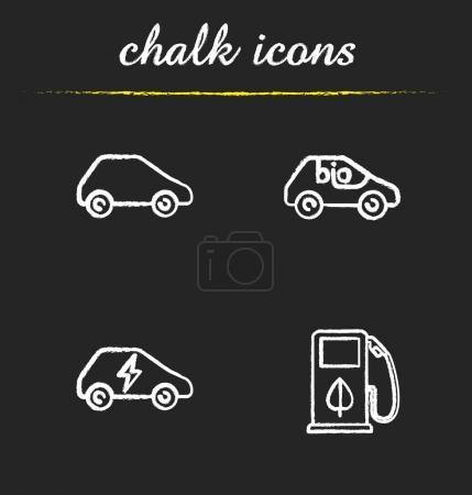 Eco friendly cars chalk icons set