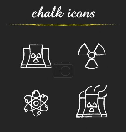 Atomic energy chalk icons set