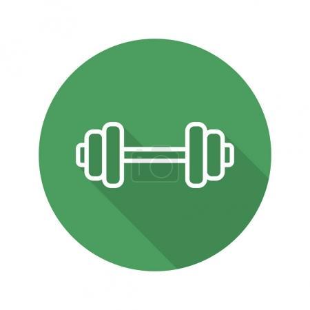 Gym barbell flat linear long shadow icon