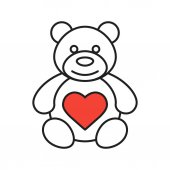 Teddy bear with heart shape linear icon Thin line illustration Contour symbol Vector illustration