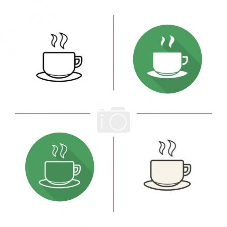 Steaming cup icons set