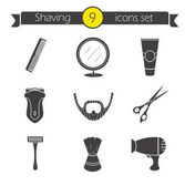 Shaving icons set Barber shop silhouette symbols Electric shaver scissors and comb after shave cream mirror shaving brush hairdryer and beard Vector illustration