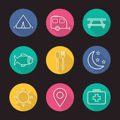 Camping and tourism flat icons set
