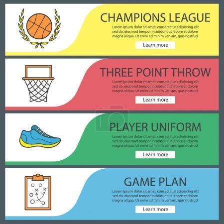 Basketball banner templates set