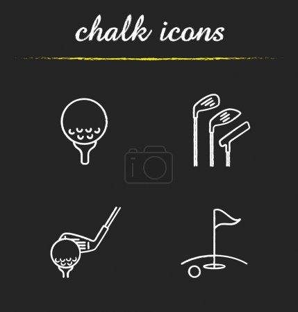 Golf chalk icons set