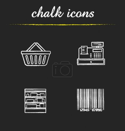 Supermarket chalk icons set