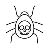 Poisonous spider linear icon Thin line illustration Danger bug Computer virus contour symbol Vector illustration