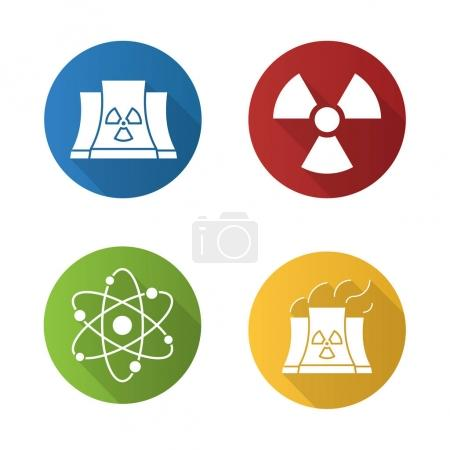 Atomic energy flat icons set