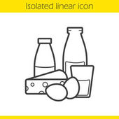 Dairy products linear icon Thin line illustration Yogurt bottle and glass of milk eggs and cheese Grocery store items contour symbol Vector illustration