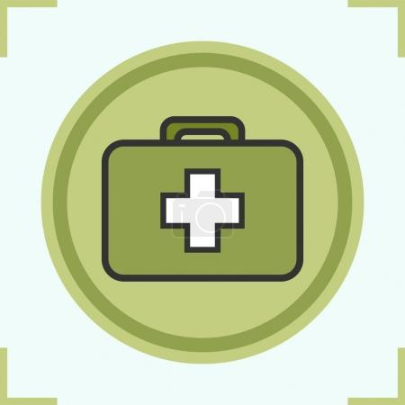 Military first aid kit color icon