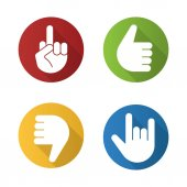 Hand gestures flat design long shadow icons set Thumbs up dislike heavy metal middle finger up Vector illustration