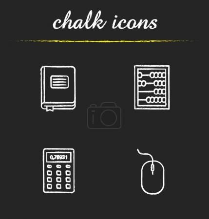 Accounting chalk icons set