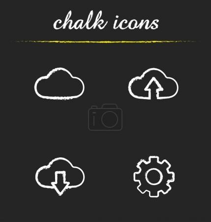 Cloud computing chalk icons set