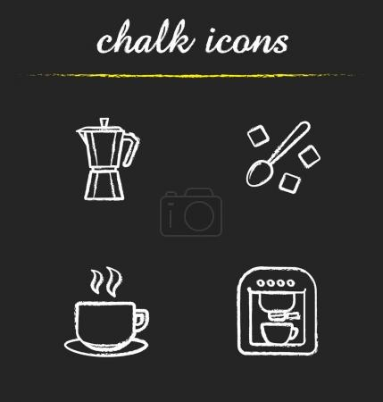 Coffee chalk icons set