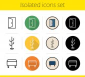 Furniture icons set Flat design linear black and color styles Room interior Open door hanger ottoman Isolated vector illustration