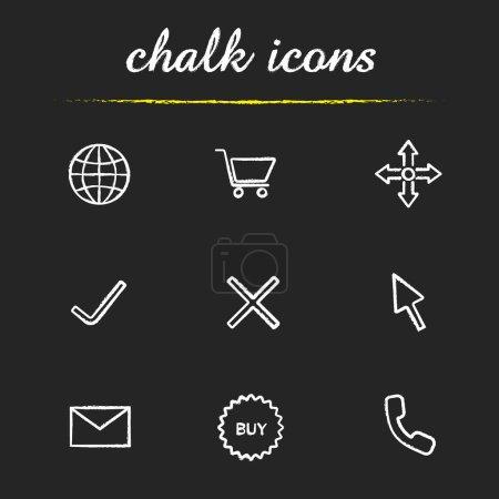 Online shopping chalk icons set