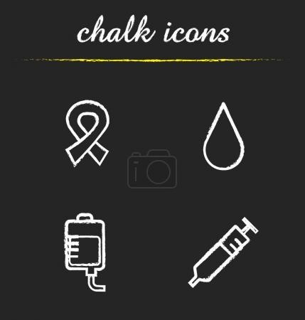 Blood donation chalk icons set