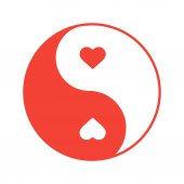 Yin Yang with hearts color icon Isolated vector illustration