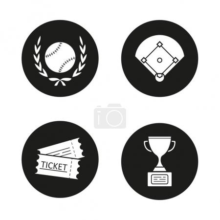 Baseball championship icons set