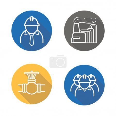 Industrial complex flat icons set