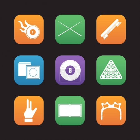 Billiard flat design icons set