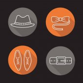 Gentleman's fashion flat icons set