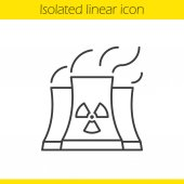 Nuclear power plant with smoke cloud Linear icon Thin line illustration Radiation contour symbol Vector illustration