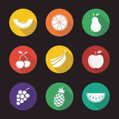 Fruit flat design long shadow icons set Melon slice orange pear two cherries bananas bundle bunch of grapes apple pineapple watermelon Vector  illustration