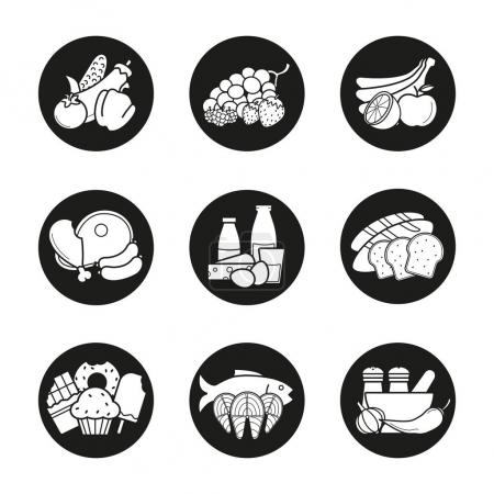 Grocery store product categories icons