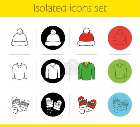 Winter clothes icons set