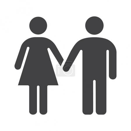 Couple icon. Silhouette symbol.
