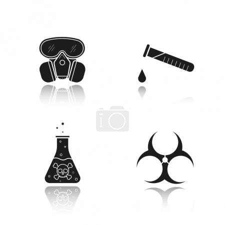 Illustration for Chemical industry drop shadow black icons set. Gas mask, boiling poison liquid, chemical test tube and biohazard danger symbol. Isolated vector illustration - Royalty Free Image