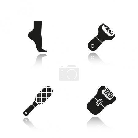 Feet care drop shadow black icons set