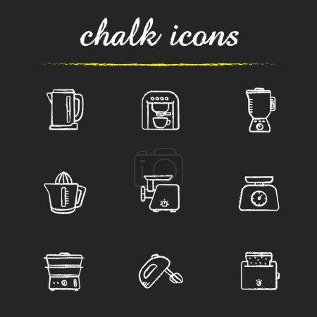 Kitchen electronics chalk icons set