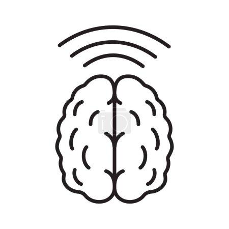 Brain waves linear icon