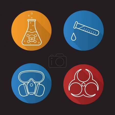 Chemical industry flat icons set