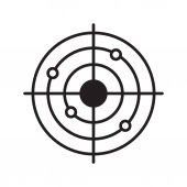 Shooting range linear icon Radar thin line illustration Gun target with bullet holes contour symbol Vector illustration