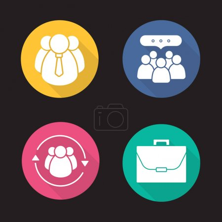 Business concepts flat icons set