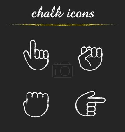 Hand gestures chalk icons set