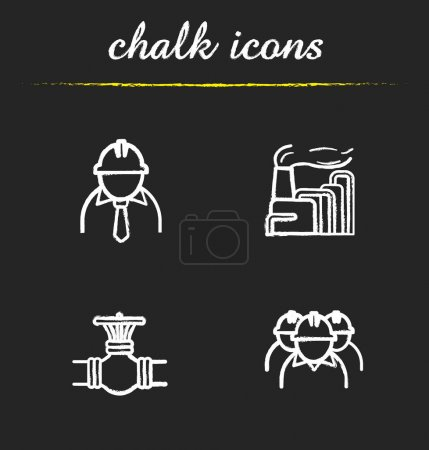 Industrial complex chalk icons set