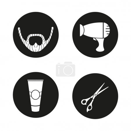 Barbershop icons set