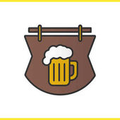 Wooden bar sign color icon