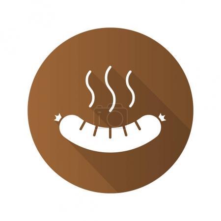 Steaming sausage flat icon